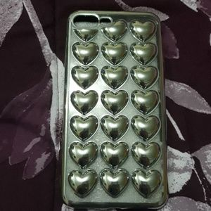 Other - iPhone 6 Plus metallic silver heart cover case